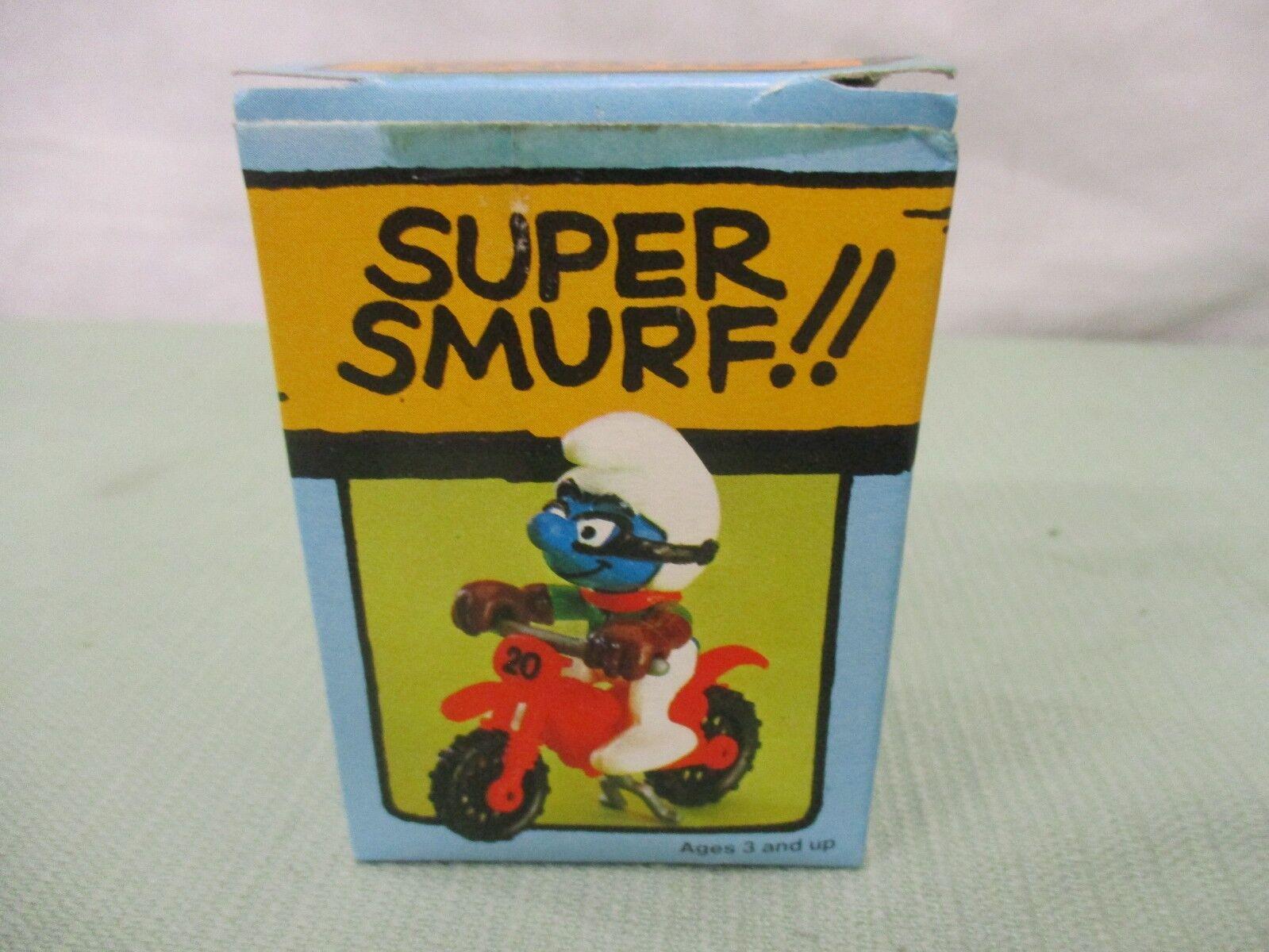 Super Smurf Figure box Vintage Toy Schleich Motocross dirt bike motorcycle sport
