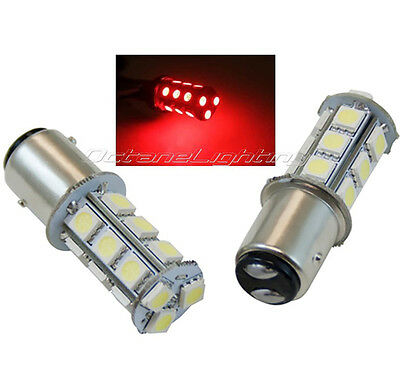 Pair #1157 Red 18 SMD LED 12V Tail Light Rear Brake Stop Turn Signal Lamp Bulbs