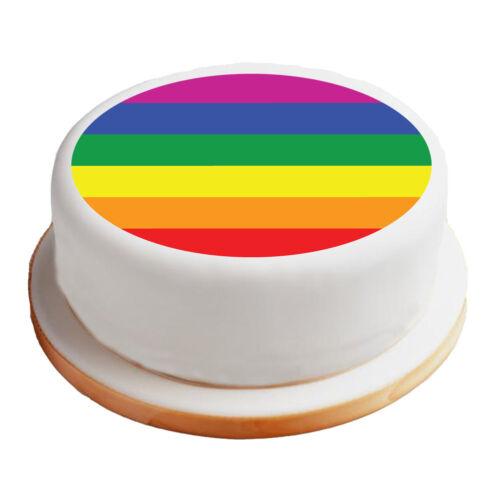"""Orgullo Gay Bandera 8/"""" Pre-Corte Redondo Pastel Topper Premium Calidad Azúcar Glaseado Hoja"""