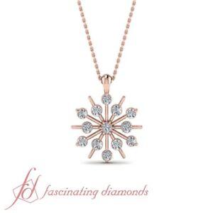 1 4 Karat Round Diamond Snowflake Design Pink Gold Pendant Necklace For Women Ebay