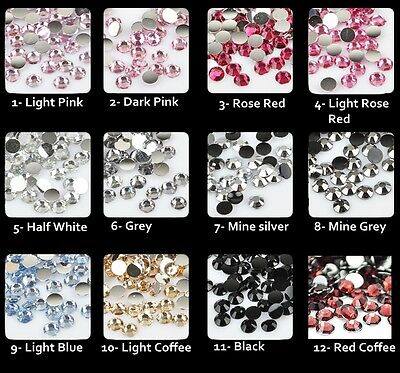 1000 Crystal ss6 Flat Back 14 cuts 2mm DIY Acrylic Rhinestones Gems 1-12 color