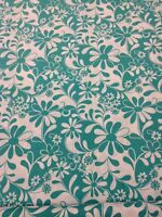 Crazy Daisy 100 % Cotton Quilting Craft Fabric Green White By The Half Metre