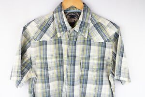 Tommy-Hilfiger-Denim-Men-Casual-Shirt-Short-Sleeves-Check-Cotton-size-L