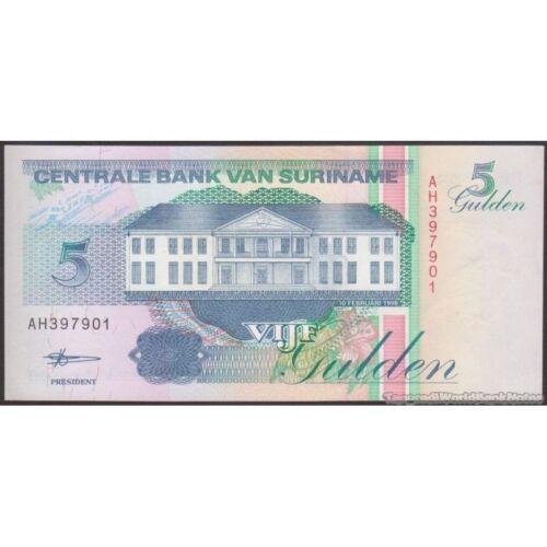 P 136b    Uncirculated Banknotes 5  GULDEN  1998  Prefix AH SURINAME