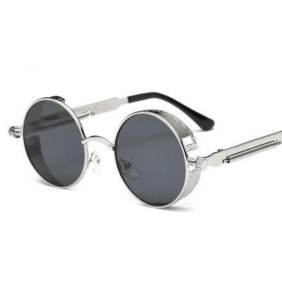 Fashion Mens Sunglasses Retro Vintage Round Mirrored Steampunk Eyewear Womens