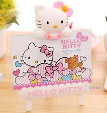 "New Super Cute Pink Hello Kitty 6"" Kids Family Photo Picture Frame Holder Stand"
