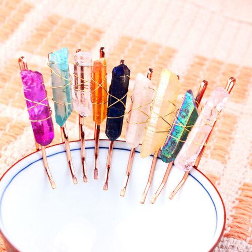 Women/'s Crysta Quartz Hair Pins Clipsl Hairpin Clips Gemstone Wedding Costume