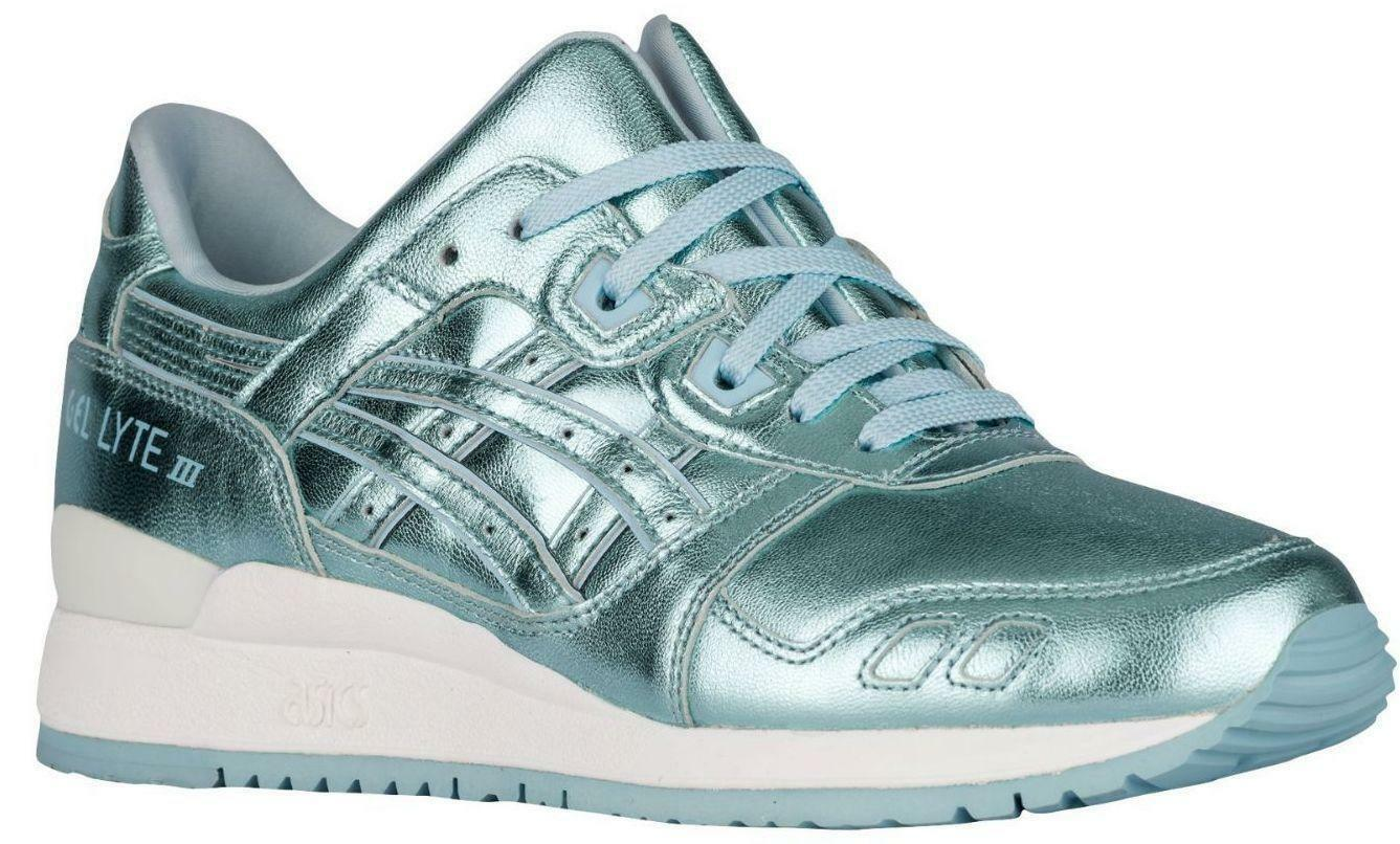 Womens ASICS GEL-LYTE III Ice Blue Leather Trainers H6E5K 4444 New shoes for men and women, limited time discount