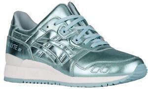 Womens ASICS GEL-LYTE III Ice Blue Leather Trainers H6E5K 4444 RRP ... 609d998859b0