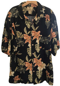 Jamaica-Jaxx-Men-s-100-Silk-Hawaiian-Shirt-XL-Black-Floral-Short-Sleeve-EUC