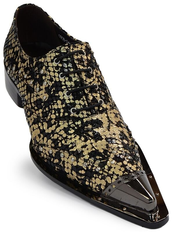 Zota oro Negro Metálico Cuero Calzado Con Cordones Puntera De Punto