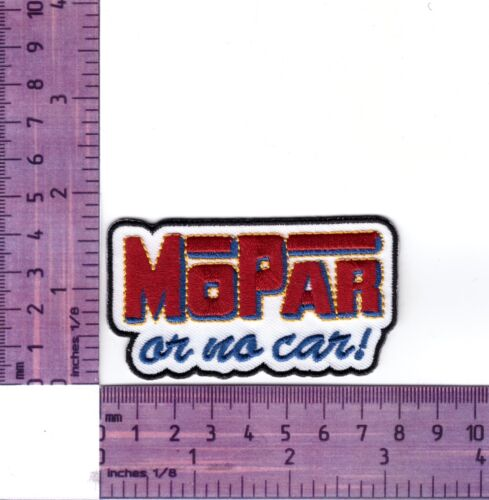 It/'s Mopar Or No Car White Embroidered Badge //Cloth Patch  Iron or Sew