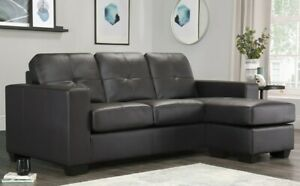 Details about Rio Brown Leather Corner Sofas Group Settee Unit