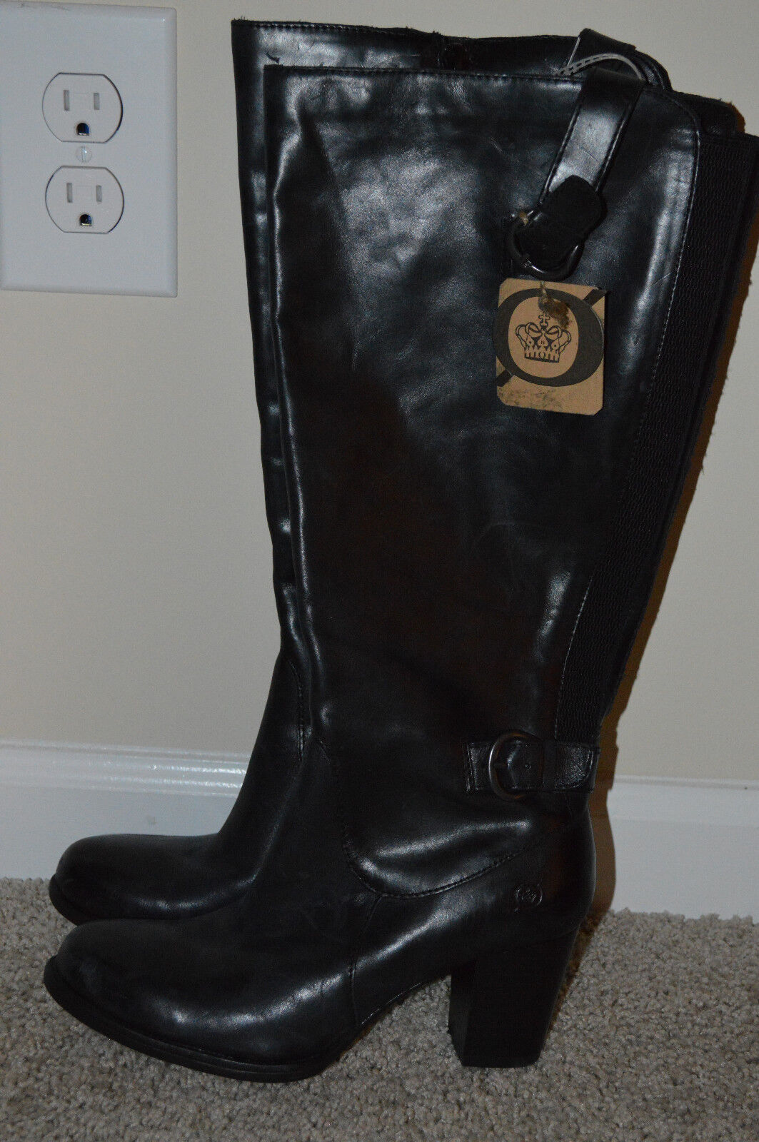 NEW Born Tall BOOTS Black shoes Pull-on 6 Leather  160 Wide Shaft Calf Heeled