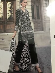 089b1e2af8 GUL AHMED Black And White PRINTED Lawn Blanche Noire UNSTITCHED SUIT ...