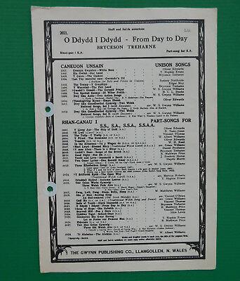 Vintage sheet music Welsh O Ddydd I Ddydd FROM DAY TO DAY church choir song  SA | eBay