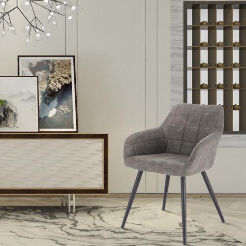 1x Esszimmerstuhl Küchenstühle Wohnzimmerstuhl Stoffbezug Grau BH224gr-1