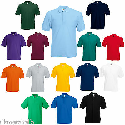 Fruit of the Loom Polo T Shirt 14 Colours S M L XL XXL Plain -  Ideal Workwear!