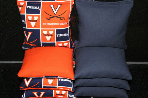 CORNHOLE BEANBAGS made w VIRGINIA CAVALIERS Fabric 8 ACA Reg Bags
