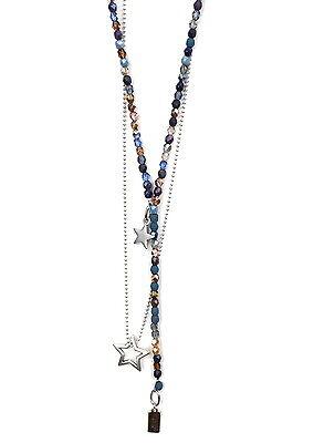 aus Glasperlen /& zierliche Kette Metallperlen Y-Kette Blautöne 2x Ketten
