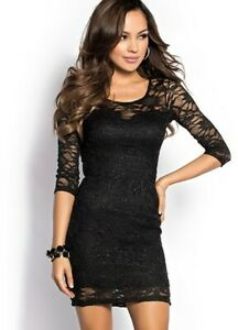 DressNStyle-NWOT-Branded-SHUYALE-Sexy-Elegant-Black-Lace-Bodycon-Casual-Dress