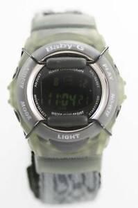 Casio Baby-G Chrono Unisex Gray Black Gray Nylon Light Alarm Date Quartz Watch