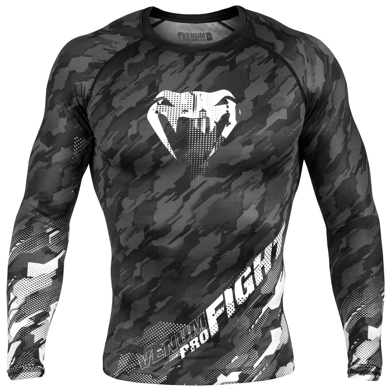 Venum Tecmo Rash Guard Long Sleeve Grey BJJ Training Tops T Shirt Gym MMA