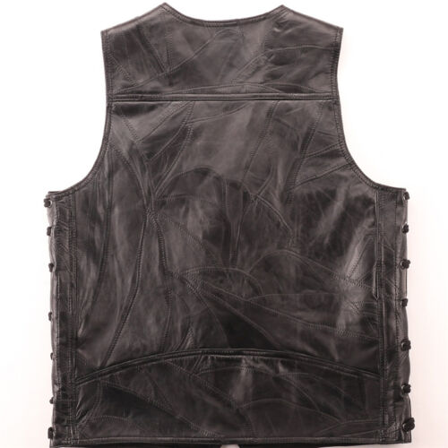 Embroidery Leather Vest Waistcoat Halley Motorcycle Riding Punk Hip hop Men/'s