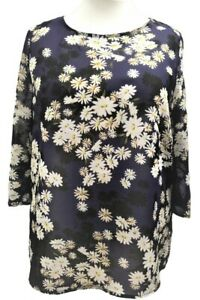 Womens-Ladies-Plus-size-Summer-Tunic-Top-Daisy-Floral-Print-Sofo-Curves-16-to-36