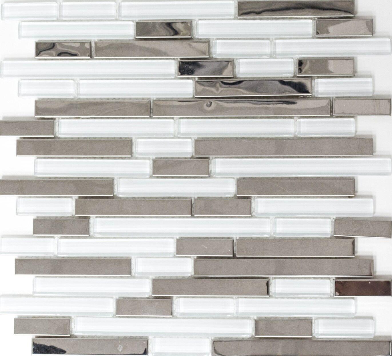 Mosaik Fliese Transluzent Edelstahl silber Verbund weiß | 86-0102_f | 10Matten