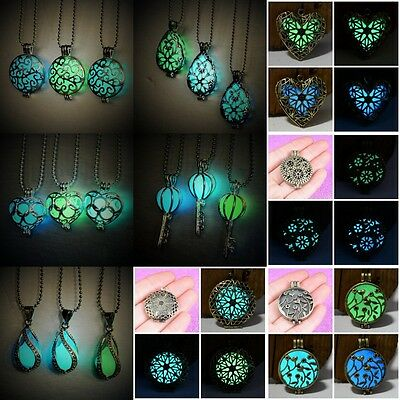 New Glow in the Dark Jewelry Necklace Glowing Heart Little Teardrop Pendant Gift