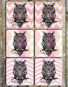 Owl-Drink-Coasters-Set-of-6-Non-Slip-Neoprene-Gift-Ideas