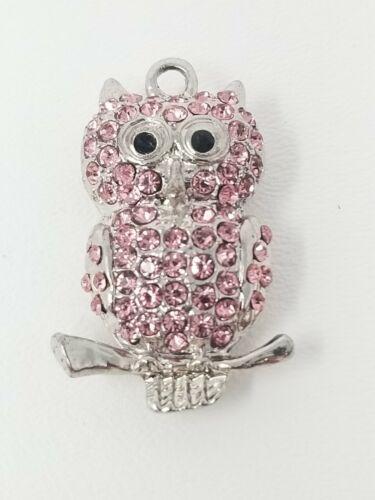 Pendant Glitter Owl Pink-Silver