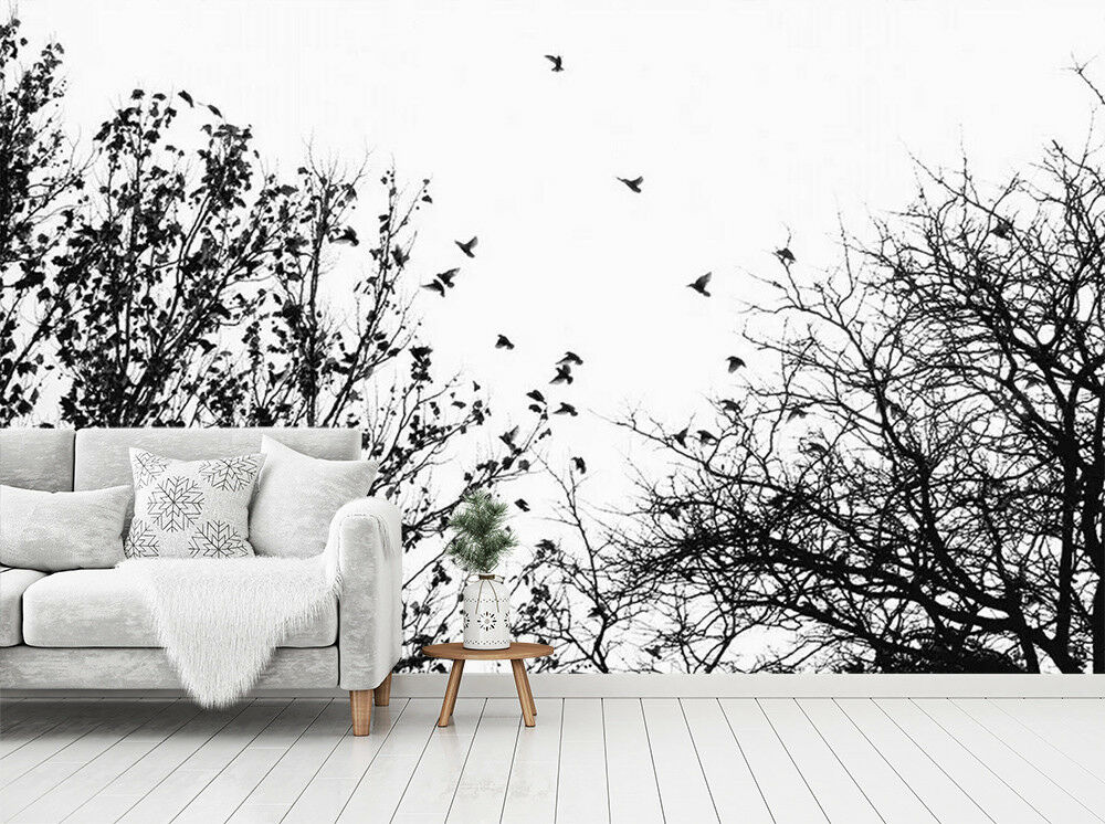 3D Trees Top birds 029 Wall Paper Exclusive MXY Wallpaper Mural Decal Indoor AJ