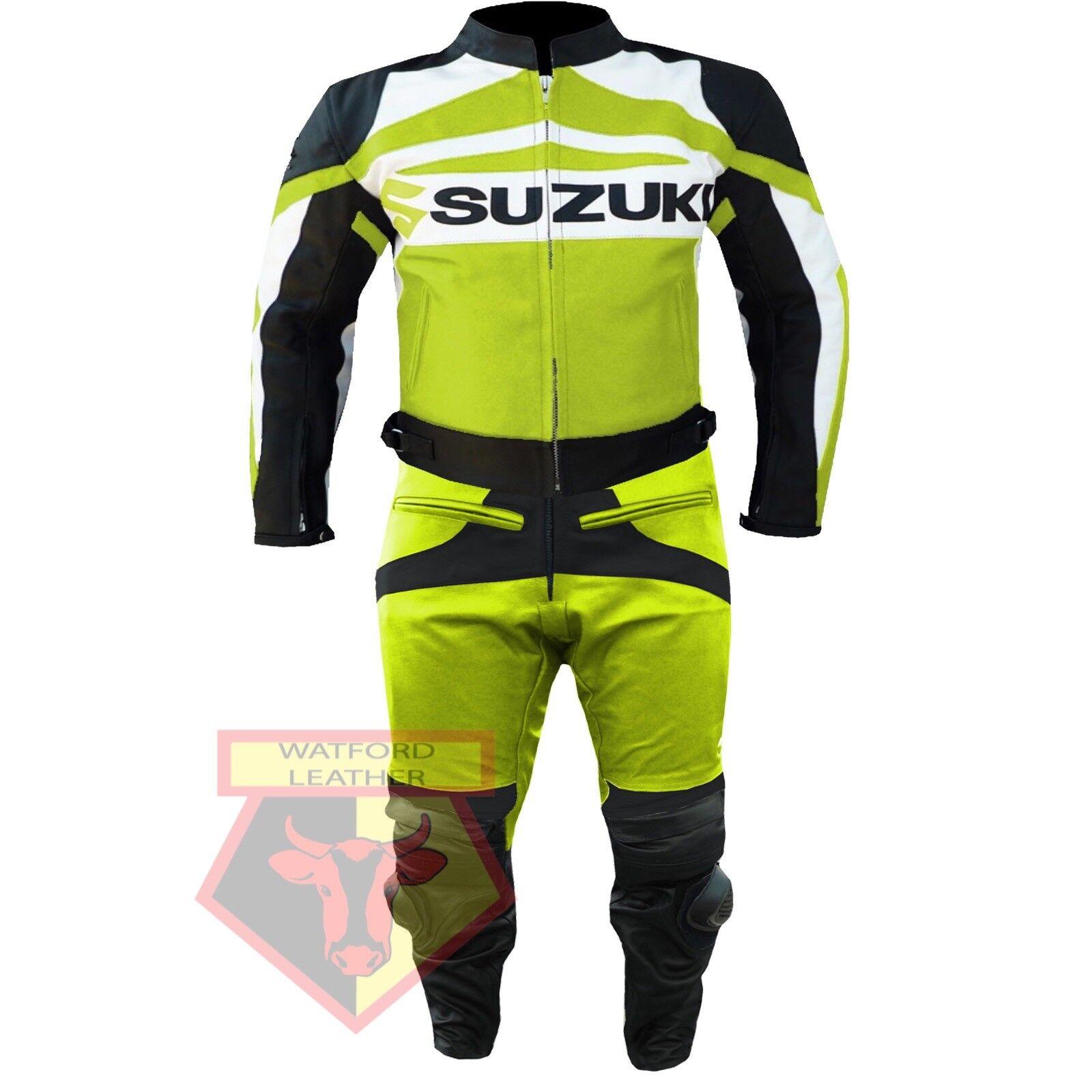 SUZUKI GSX-R MOTORCYCLE MOTORBIKE BIKER 2 PIECE COWHIDE LEATHER ARMOUROT SUIT