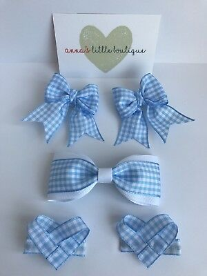Handmade Girls Light Blue Gingham Double School Hair Bow Bobble with Diamante