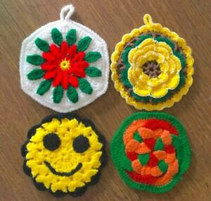 Lot-Of-4-Vintage-Kitchen-Kitsch-Crocheted-Pot-Holders-Hot-Pads-1970-039-s-EUC