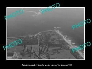 OLD-LARGE-HISTORIC-PHOTO-POINT-LONSDALE-VICTORIA-AERIAL-VIEW-OF-THE-TOWN-c1940