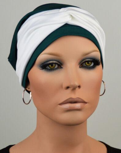 SET MÜTZE und STIRNBAND Chemo Sommer Beanie grün leicht Krebs Chemomütze Kim B