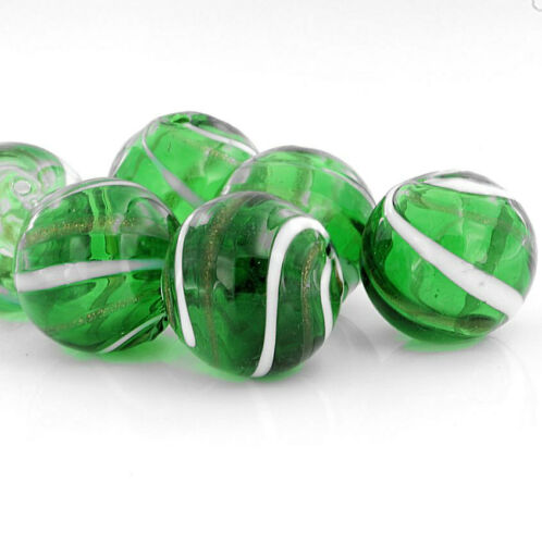 4 Blown Glass Beads BD260G Green with White Swirl Stripes /& a Hint of Gold