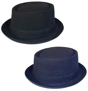 Homme ou Femme Pork Pie Hat New Trilby Cap en Noir Ou Bleu Marine Tailles: 55 - 61 cm