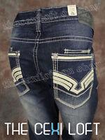 Mens Request Jeans Premium Straight Leg White Leather Pocket Details