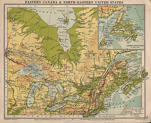 Details about 1934 MAP ~ EASTERN CANADA & NORTH-EASTERN UNITED STATES  PHYSICAL NEWFOUNDLAND