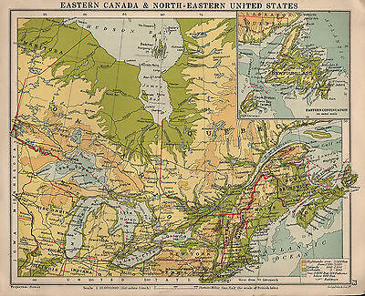 Physical Map Southeastern Canada 1934 MAP ~ EASTERN CANADA & NORTH EASTERN UNITED STATES PHYSICAL