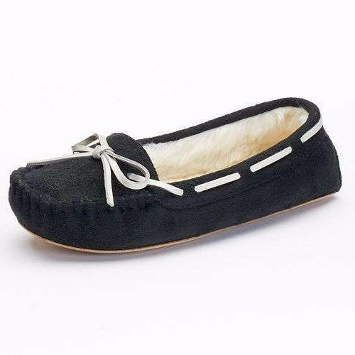 Women's S.O. ASOL Black+White Slip On Faux Fur Moccasin Slippers House Shoes New