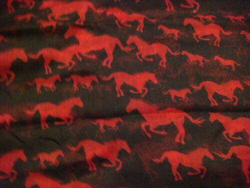 Soft Long Poids léger foulard noir avec rouge chevaux