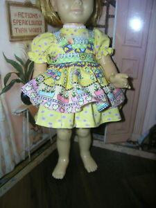3-Pc-Set-Dress-Easter-Print-Apron-19-20-034-Doll-clothes-fits-Mattel-Chatty-Cathy