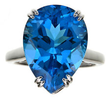 10.95 Ct tw Ostro Royal Blue Topaz Pear Shaped Sterling Silver Ring Size 6