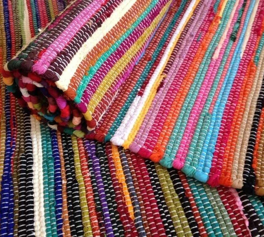 Fair Trade Loom Recycled Rag Rug Chindi Shabby Chic Woven Striped Mat Handmade