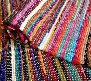 Fair Trade Loom Recycled Rag Rug Chindi Shabby Chic Woven